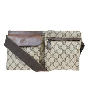 GUCCI GG Pattern Bum Bag Belt PVC Leather Brown M